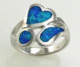 Inel argint 925 cu aspect de aur alb si imitatie de opal verde-albastru