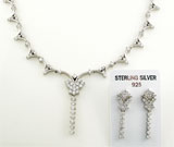 Set cu pietre albe din argint 925 cercei si colier