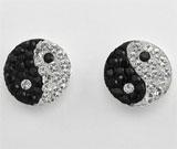 Cercei Yin Yang din argint cu cristale