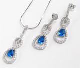 Set bijuterii din argint de ocazii: lantisor, pandantiv si cercei lungi model cifra 8 cu zirconiu alb si albastru
