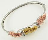 Bratara fixa model frunze din argint placat cu aur galben si aur roz cu zirconiu rosu
