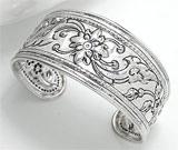 Bratara fixa din argint model flori