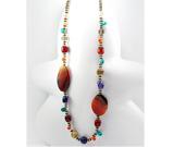 Colier lung cu pietre semipretioase: agate, ametist si sticla colorata