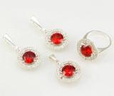 Set argint 925: cercei, pandantiv, inel cu zirconiu alb si rosu