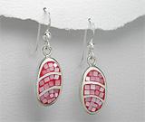 Cercei argint cu email rosu si sidef roz