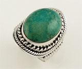 Inel cu piatra ovala turcoaz verde si argint