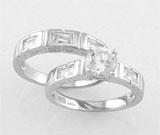 Set de logodna compus din 2 inele din argint 925 cu aspect de aur alb cu imitatii de diamant