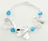 Bratara cu fluturasi din argint si pietre bleu