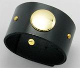 Bratara din piele naturala neagra cu inox placat cu aur