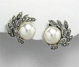 Cercei clipsuri din argint cu perla alba si marcasite