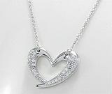 Colier cu inimioara din argint cu aspect de aur alb