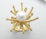 Inel argint placat cu aur 18K cu perla de cultura
