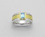 Inel cu topaz bleu din argint placat cu aur