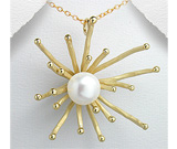 Pandantiv argint placat cu aur de 18K cu perla de cultura