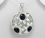 Pandantiv rotund din argint model flori cu email negru si marcasite