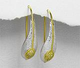 Cercei din argint placat cu aur cu cubic zirconia