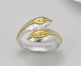 Inel model sarpe din argint placat cu aur cu zirconia