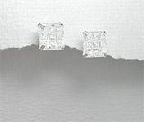 Cercei din argint cu piatra patrata alba