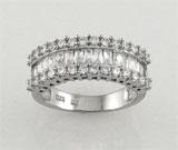Inel din argint 925 cu aspect de aur alb cu pietricele