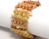 Ce semnifica culoarea bijuteriilor:Bratara cu perle vopsite, scoica, margele si argint