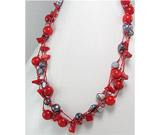 Ce semnifica culoarea bijuteriilor:Colier din matase japoneza cu coral rosu si perle negre de cultura