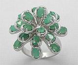 Ce semnifica culoarea bijuteriilor:Inel din argint cu smaralde naturale