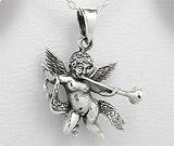 Pandantiv inger, simbol al puritatii: Pandantiv ingeras cu trambita din argint