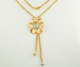 Colier lung cu pandantiv model floare din argint placat cu aur