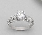 Inel solitar din argint 925 cu aspect de aur alb cu pietricele