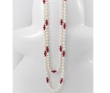 Bijuterii din argint in trend: Colier lung cu perle de cultura si coral