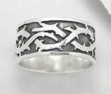 Bijuterii din argint pentru barbati: Inel verigheta lata din argint cu model tep