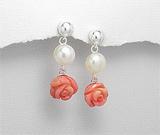 Accesorii argint: Cercei din argint cu perla si trandafir din coral ceramic