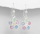 Bijuterii cu sidef: Cercei floricicele din argint cu sidef multicolor