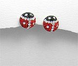 Cadouri de Dragobete: Cercei gargarite argint cu cristale rosii, albe, negre