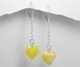 Cadouri de Dragobete: Cercei lungi din argint cu inimioare din chihlimbar galben