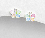 Bijuterii cu sidef: Cercei model fluturasi din argint cu sidef multicolor