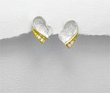 Cadouri de Dragobete: Cercei model inimioare din argint placat cu aur de 14 carate si zirconia