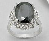 Accesorii: Inel argint cu piatra mare ovala neagra