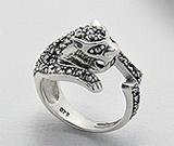 Accesorii argint: Inel model pantera din argint 925 cu marcasite