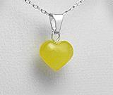 Cadouri de Dragobete: Inimioara din argint cu chihlimbar galben natural baltic