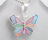 Bijuterii cu sidef: Pandantiv fluture din argint cu sidef multicolor