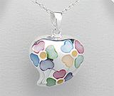 Bijuterii cu sidef: Pandantiv inimioara din argint cu trifoi cu patru foi din sidef multicolor