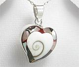 Bijuterii din argint cu scoica shiva: Pandantiv model inima din argint cu scoica shiva si abalone maro