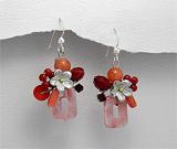 Cercei din argint cu coral cherry si quartz
