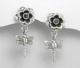 Bijuterii noi: Cercei trandafir cu libelula din argint oxidat
