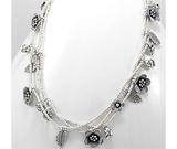 Bijuterii noi: Colier din argint masiv in stil tribal cu model flori si frunze