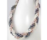 Colier impletit din siraguri cu perle de cultura albe, piersic, negre cu incuietoare din argint