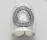 Inel ajustabil foarte lat in stil balinez din argint cu marcasite model soare