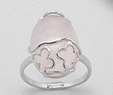 Bijuterii cu cuart roz: Inel cu cuart roz oval si argint