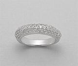 Inel din argint 925 cu aspect de aur alb cu imitatii de diamante